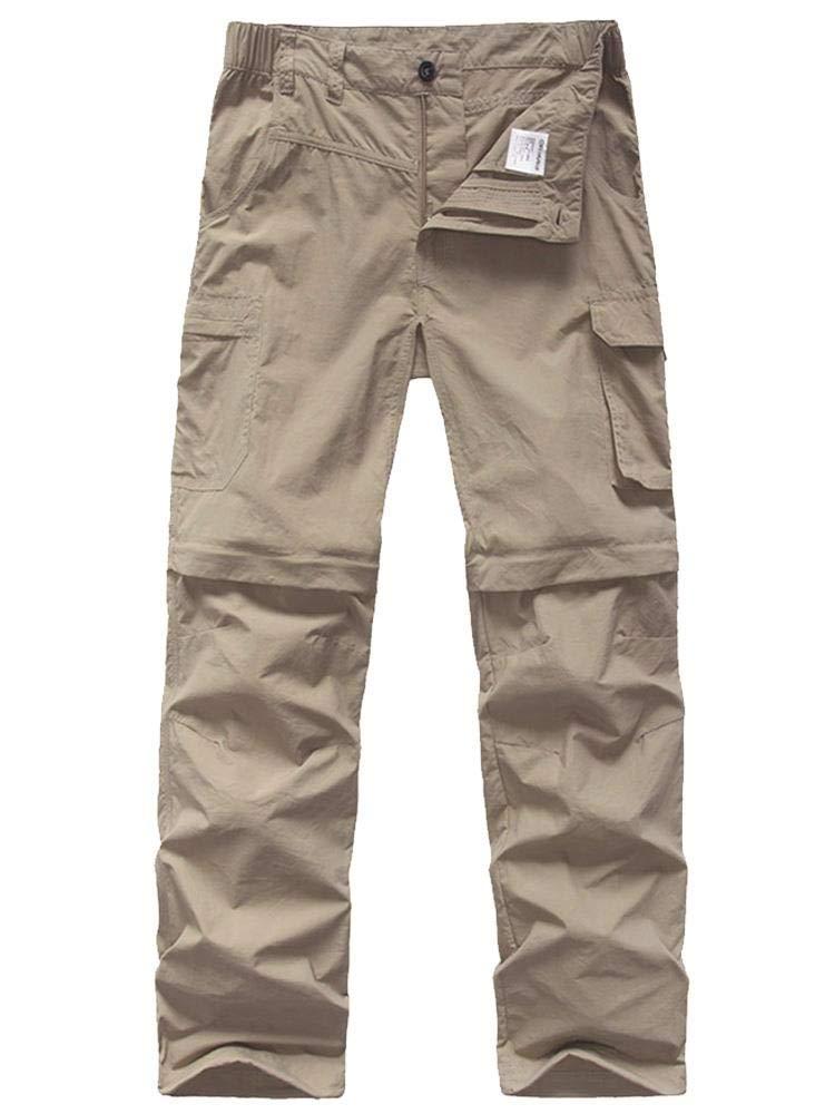 Kids' Cargo Pants, Boy's Casual Outdoor Quick Dry Waterproof Hiking Climbing Convertible Trousers Khaki by linlon