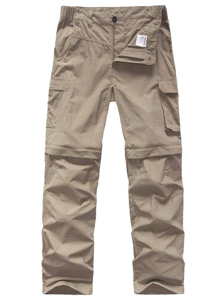 Kids' Cargo Pants, Boy's Casual Outdoor Quick Dry Waterproof Hiking Climbing Convertible Trousers Khaki