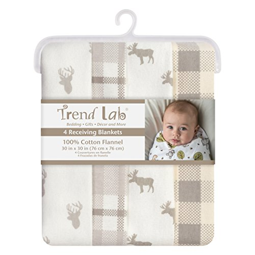 Trend Lab Stag and Moose Flannel Blankets 4 Piece