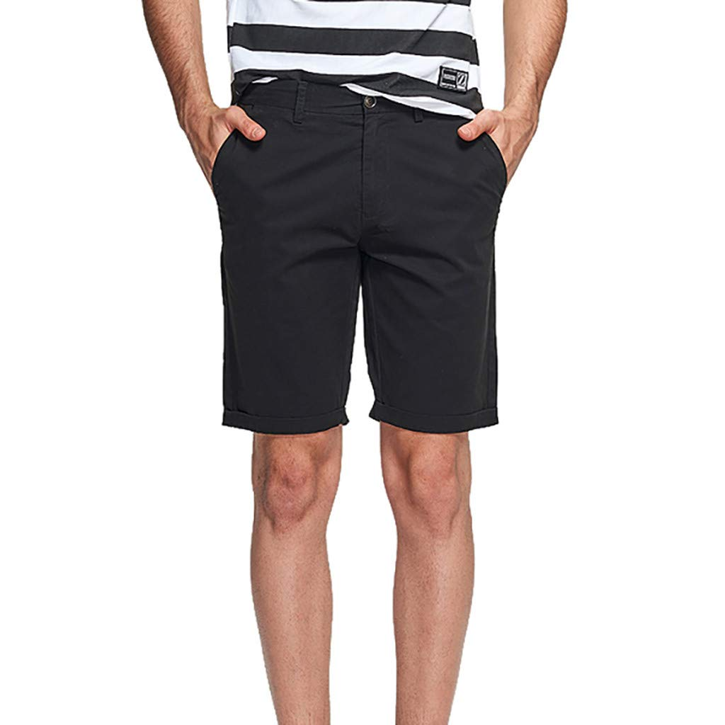 ANJUNIE Mens Classic Shorts Pure Color Sports Trousers Military Relaxed Fit Cargo Short Pants with Pocket(Black,38)