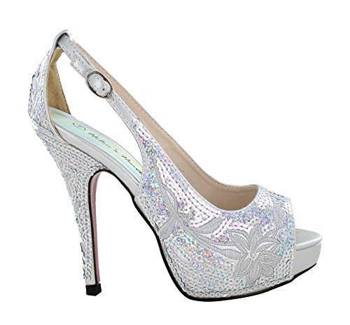 Women's Silver Sequinse/Leather Prom Shoe FS-8380-A22
