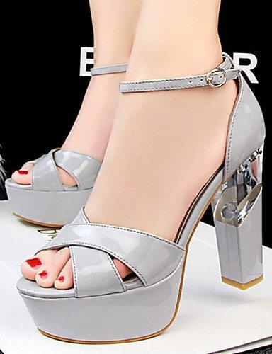 LFNLYX Zapatos de mujer-Tacón Robusto-Tacones / Punta Abierta-Sandalias-Casual-Semicuero-Negro / Rojo / Blanco / Plata / Gris / Almendra almond