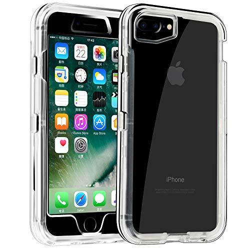 Phone Case for iPhone 6s Plus/6 Plus Heavy Duty Hybrid Crystal Clear Dual Layer Rugged Cover Shockproof Shell Hard PC and Soft TPU Bumper Protective Case Design for Apple iPhone 6+/6s+,Clear (Hard Shell Case For Iphone 6 Plus)