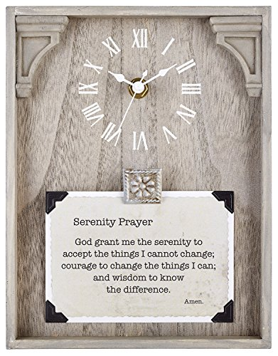 CB Gift Heartfelt Collection Capture The Moment Natural Framed Table Clock with Verse, 7 x 9-Inches, Serenity Prayer