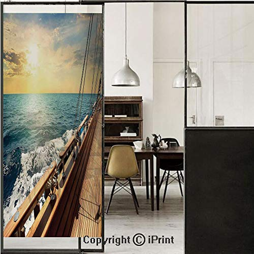 Nautical Decor 3D Decorative Film Privacy Window Film No Glue,Frosted Film Decorative,Sailboat in Mediterranean Waves at Sunset Sky Relax Yacht Wind Relax Scenery,for Home&Office,23.6x59Inch Cream Blu