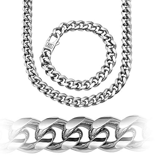 (Sterling Manufacturers Men's Cuban Link Chain - Platinum Plated 10.2 MM Solid .925 Sterling Silver Miami Cuban Link Chain - Chain/Bracelet with Secure LinxLock Classic | Made in Italy (8))