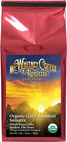 Mt. Whitney Coffee Roasters Organic Sumatra Gayo Mountain Medium Roast Coffee, Whole Bean, 2 Pound