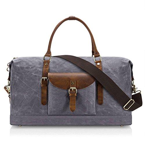 Plambag Oversized Duffel Bag, Waterproof Canvas Leather Trim Overnight Luggage Bag(Grey) by Plambag (Image #1)