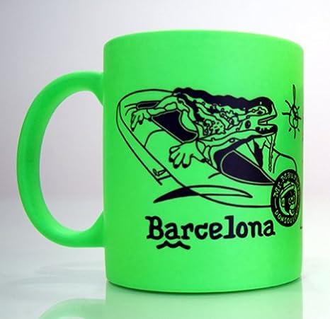 Taza MUG Barcelona. Modelo DRAC Park GUELL. Neon (Verde): Amazon ...