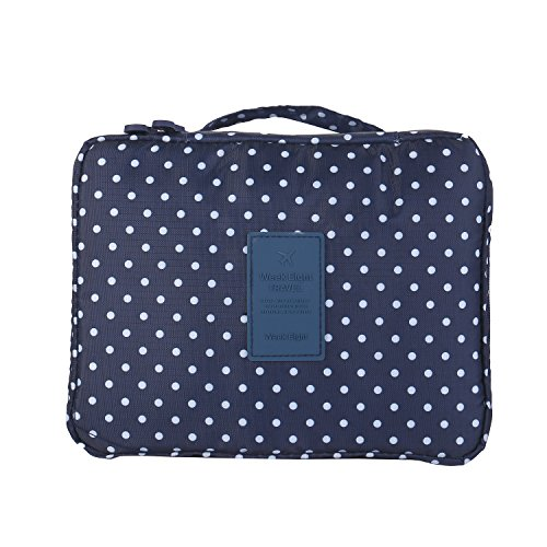 TZWNS Multi-function Makeup Cosmetic Bag Toiletry Travel Kit Organizer (Blue (Wet Cube Collection)