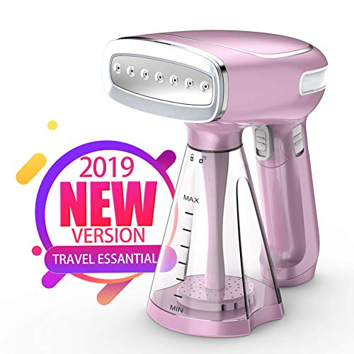 Keiyaloe Steamer for Clothes - Travel Steamer with 3 Steam Modes - 1200W Handheld Steamer - Foldable - 250ml - Remove Wrinkles/Steam/Soften/Clean/Sanitize/Defrost[Rose Purple]