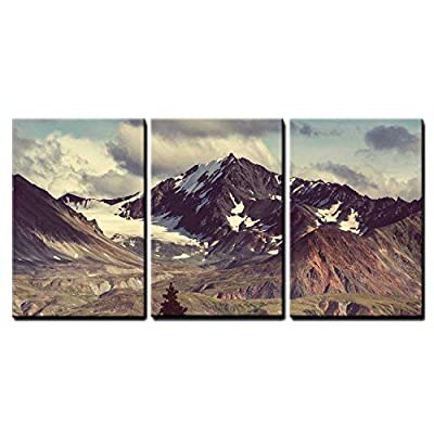 3 Piece Canvas Wall Art - Mountains in Alaska - Modern Home Art Stretched and Framed Ready to Hang - 24