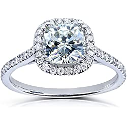 Cushion-cut Moissanite Engagement Ring with Diamond 1 1/3 CTW 14k White Gold