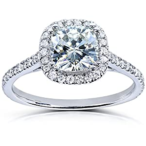 Cushion cut Moissanite Engagement Ring with Diamond 1 1/3 CTW 14k White Gold