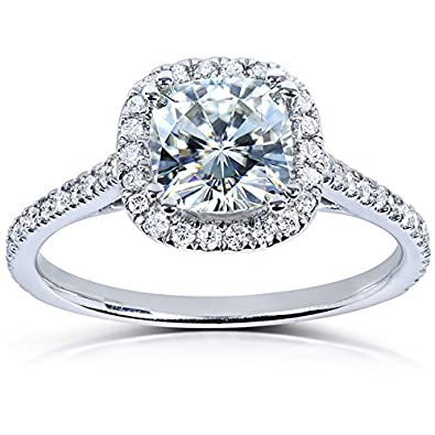 Cushion cut Moissanite Engagement Ring with Diamond 1 1 3 CTW 14k