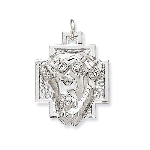 .925 Sterling Silver Jesus Head ECCE Homo Charm Pendant ()