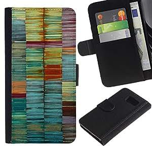 LASTONE PHONE CASE / Lujo Billetera de Cuero Caso del tirón Titular de la tarjeta Flip Carcasa Funda para Samsung Galaxy S6 SM-G920 / Colors Pastel Teal Lines Brush