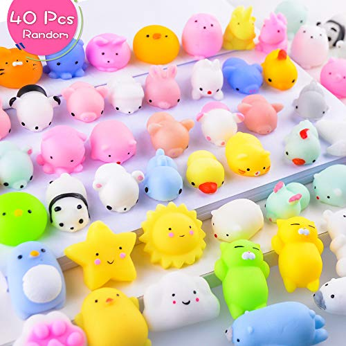 LUDILO 40Pcs Mochi Squishy Toys Mini Squishies Kawaii Animal Squishys Party Favors for Kids Easter Bunny Cat Panda Unicorn Squishys Easter Egg Fillers for Kids Class Prizes Stress Relief Toy, Random -