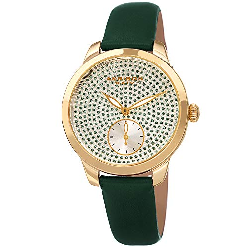 (Akribos XXIV Women's Watch - Sparkling Glitter Dots with Sub-Second Subdial - Smooth Leather Strap - AK1089 (Green))