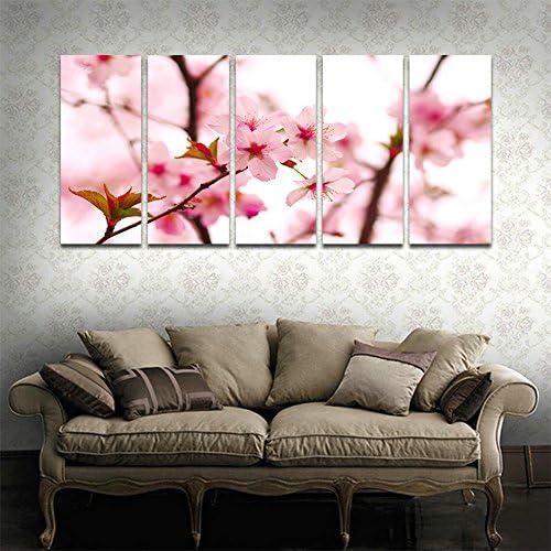 [해외]CyiohArt-5 패널 아트 패널 「 벚꽃 」 벽 풍경 사진 벽 사진을 회화 화포 회화 홈 장식 (49 인치 x24 인치, 크 레이트 된 완제품) / CyiohArt - 5 Panel Art Panel \\