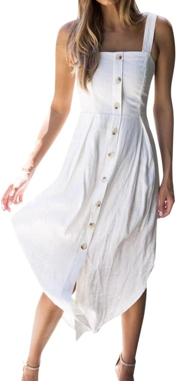 Ansenesna Kleid Damen Sommer Lang Mit Schlitz Asymmetrisch Abendkleid  Ärmellos Rückenfrei Carmen Ausschnitt Für Party Strand
