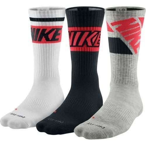 New Nike Unisex 3 Pack DRI Fit Fly Rise Crew Socks White/Black/Grey Heather Medium