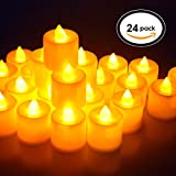24-Pack Flameless Tealight Candle, Battery LED Tea Lights with Warm Yellow Flickering Light, Dia 1.4'' Electric Fake Candle for Votive, Wedding, Party, Table, Diningroom, Gift