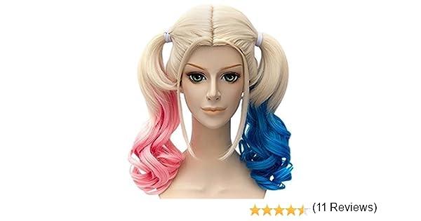 Peluca de Película de BATMAN, Harley Quinn, mezcla azul y rosa: Amazon.es: Belleza