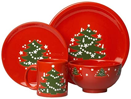 Waechtersbach Christmas Tree 4-Piece Dinnerware Set Service for 1  sc 1 st  Amazon.com : waechtersbach red dinnerware - pezcame.com