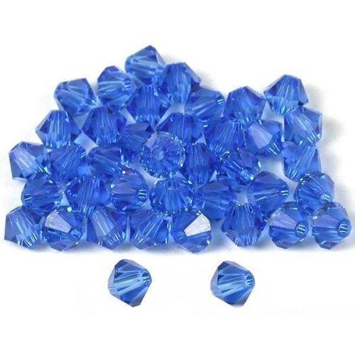 40 Sapphire Bicone Swarovski Crystal Beads 5301 4mm