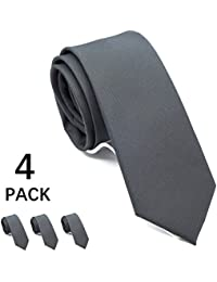 "Solid Skinny Ties for Men 4-PACK, Classic 2½"" Slim Neckties for Wedding