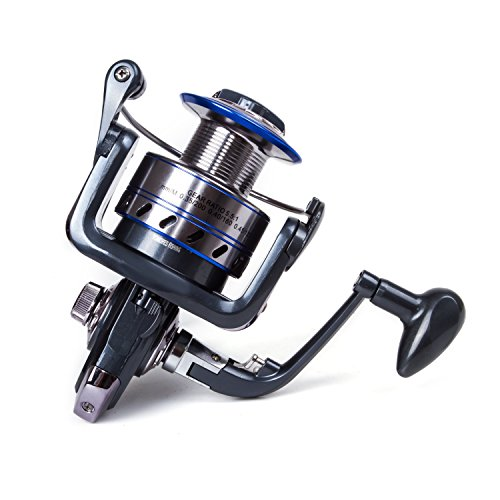 SUNVP Smooth Spinning Fishing Reels with 5.1:1 Gear Ratio Metal Body Collapsible Handle12+1BB for Freshwater Saltwater Interchangeable Collapsible Handle Spinning Fishing Reel (Spin Left Handed Reel)