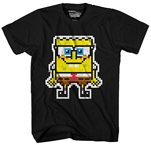 Spongebob Printed T-shirts (Nickelodeon Men's Patchy Sponge 1 Short Sleeve T-Shirt, Black, Small)