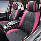 FH GROUP PU205102 Ultra Comfort Leatherette Front Seat Cushions Pink / Black Color- Fit Most Car, Truck, Suv, or Van