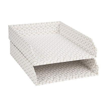 Orden EN CASA Set de 2 bandejas para Cartas Hakan Blanco y ...