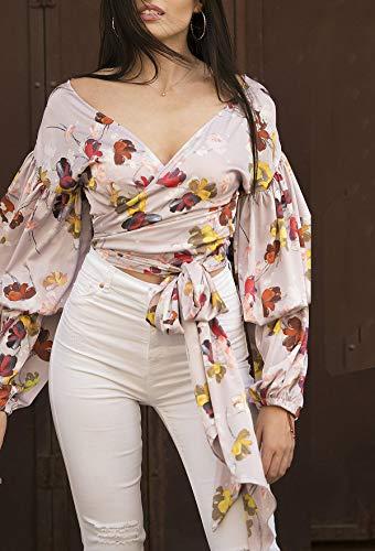 shirt Casual Camicie Bluse Manica Bende Shirts A Autunno Donne Lunga Collo Maglietta Giovane Rosa Moda Maglie Tops Con Tee T Primavera Smalltile V tIUqHH