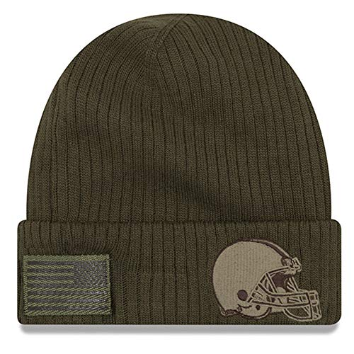 New Era Cleveland Browns 2018 Salute to Service Sideline Cuffed Knit Hat – Olive ()