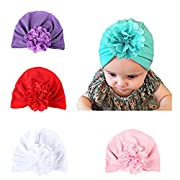 Ever Fairy Infant Baby Girls Floral Print Nursery Newborn Hospital Hat Cap with Big Bow (4 Colors pack B)