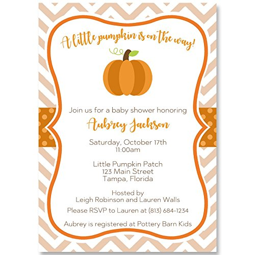 Pumpkin Baby Shower Invitation Chevron Stripes Autumn Fall Invite Orange Girl Boy Gender Neutral Unisex Polka Dots Little Pumpkin Personalized Customized with Your Information Beige (10 Pack)