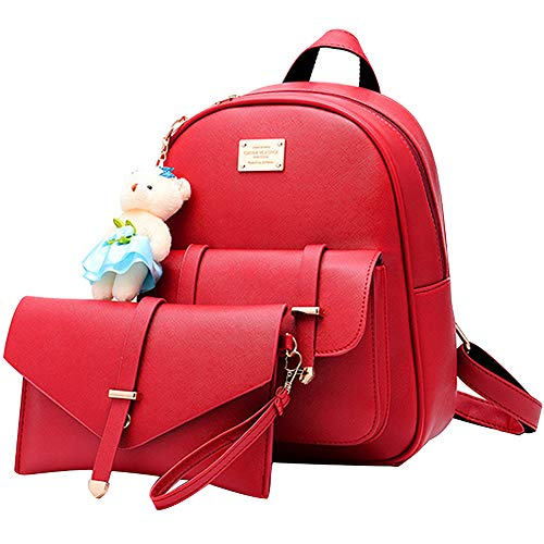- BAG WIZARD Women Mini Backpack and Wallet Set Small Purse Bag for Girls Red