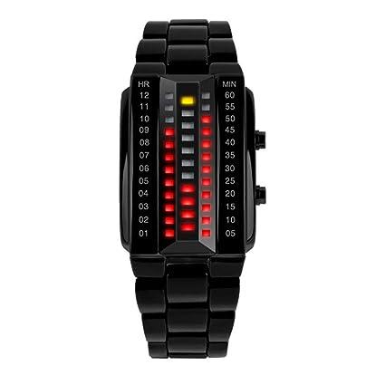 QIANGYUE Relojes Digitales binarios, Fila Doble del LED Acero Inoxidable Relojes de los Deportes al