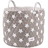 Minene Large Storage Basket with Grey Stars - star storage baskets, round storage baskets, large fabric storage basket - great for toy storage, kids storage and as a laundry hamper