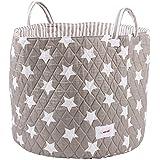 Minene 1243 - Cesta de tela, diseño estrellas, color gris (Grey/White)