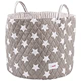 Minene Large Toy & Nursery Storage Basket, Grey Stars