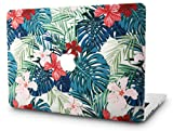KEC Laptop Case for MacBook Air 13' Plastic Case Hard Shell Cover A1466 / A1369 (Palm Leaves Red Flower)
