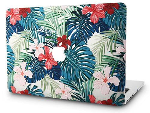 "KEC MacBook Pro 13"" Retina Case (2015) Cover Plastic Hard Shell Rubberized A1502 / A1425 (Palm Leaves Red Flower)"