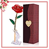 YUNDOO Gold Rose 24K Gold Dipped Rose - Forever Gift for Her Anniversary, Valentine Day, Christmas, Birthday, Mother Day (Red and Moon Crystal Stand)