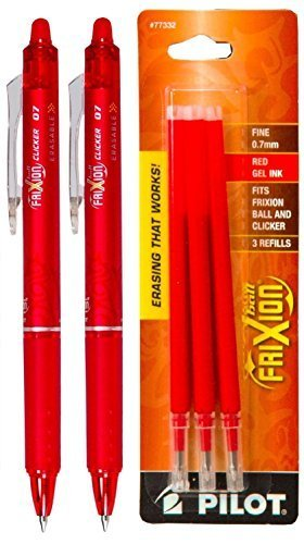 Pilot FriXion Clicker Retractable Gel Ink Pens, Eraseable, Fine Point 0.7mm, Red Ink, Pack of 3 with Bonus 2 Packs of Refills