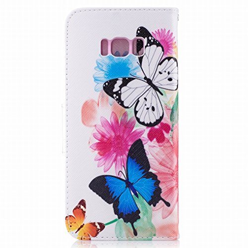 LEMORRY Samsung Galaxy S8+ / S8 Plus Custodia Pelle Cuoio Portafoglio Flip Borsa Sottile Bumper Protettivo Magnetico Chiusura Morbido Silicone TPU Cover Custodia per Galaxy S8 Plus, Farfalla Floreale