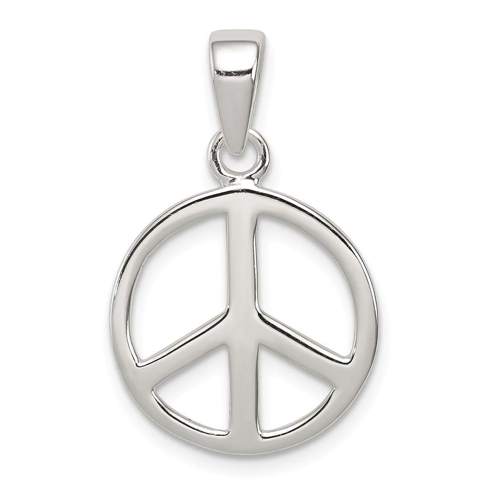 Jewel Tie Sterling Silver Peace Sign Pendant 0.94 in x 0.63 in